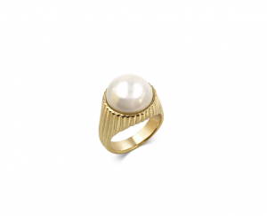BROOKE RING 18ct Gold Plated Ring with Large Pearl