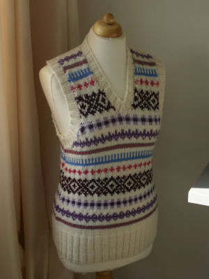 Hand knitted retro Fair Isle design vest