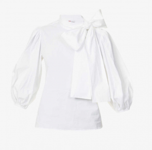 RED VALENTINO Puff-sleeved tie-collar cotton-blend shirt