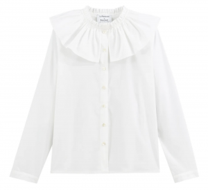 BALZAC PARIS X LA REDOUTE COLLECTIONS Cotton Long-Sleeved Shirt with Oversize Ruffled Peter Pan Collar