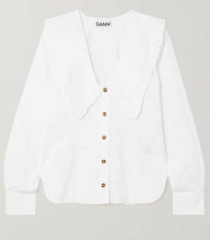 GANNI Ruffled organic cotton-poplin shirt
