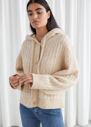 Oversized Button Up Cable Knit Hoodie
