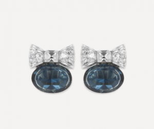 Rhodium-Plated 1990s D'Orlan Crystal Bow Stud Earrings