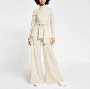 River Island – Cream wide leg ribbed trousers