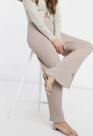 ASOS DESIGN lounge co-ord fine knit rib sweat & trouser set with splits in cream